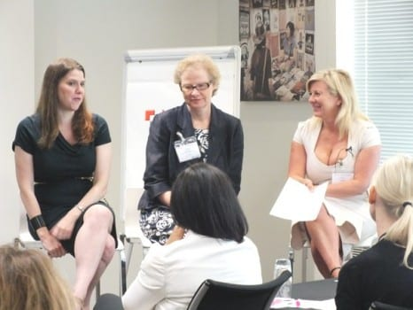 Equality Minister, Jo Swinson with Ruth Grant and Fay Sharpe at the 'Think, Act, Report' seminar