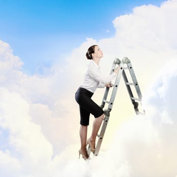 woman climbing ladder to clouds