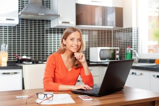 home working woman kitchen
