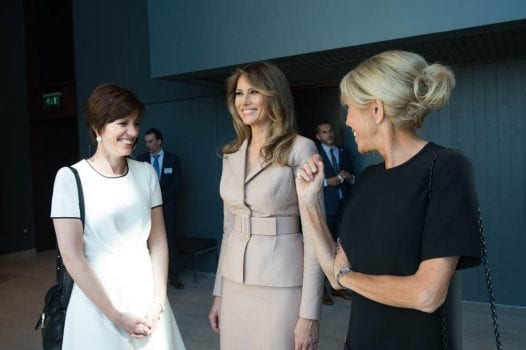 c0b20add819 But the powder blue Louis Vuitton ensemble French First Lady Brigitte  Trogneux wore during Emannuel Macron's inauguration oozed feminine elegance  while ...