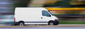 Blur white van,  panning and move